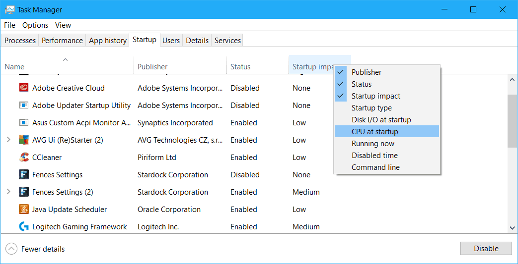 find how long an app used the CPU at startup in Windows