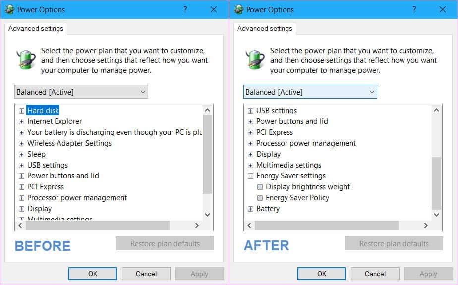 windows 10 registry power option settings guid unique to machine