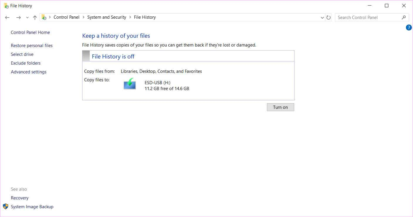 enable File History in Windows 10