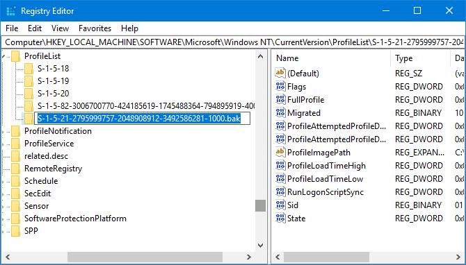 recover user profile in Windows 10