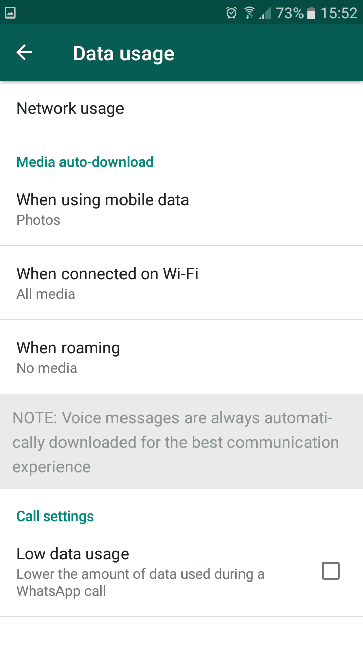 save data when using Whatsapp