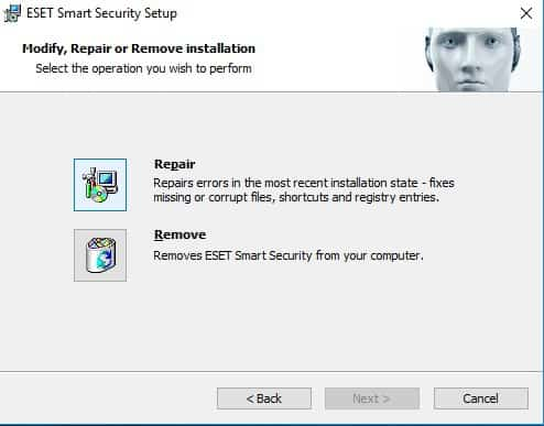 remove ESET NOD 32 and Smart Security from Windows 10