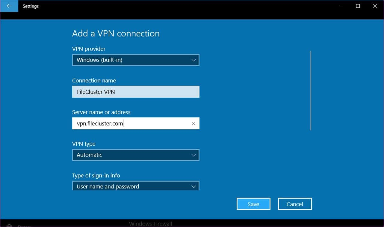 create a VPN connection in Windows 10