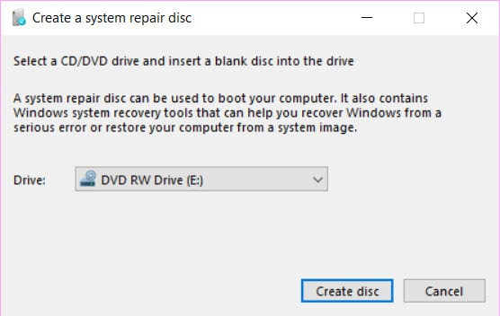 recovery drive vs system repair disc windows 10