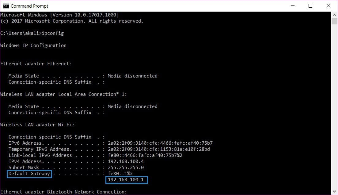 find a router's IP address in Windows 10