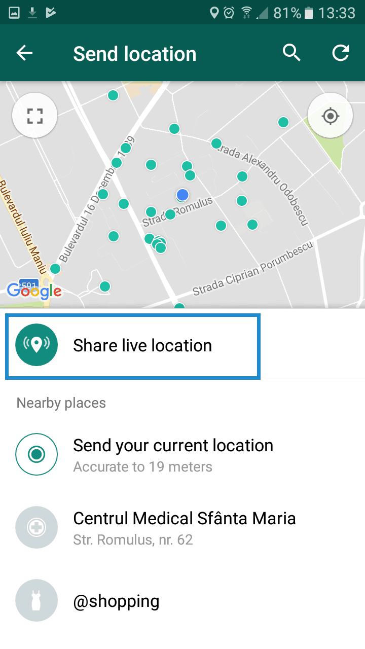 Share your live location on Whatsapp