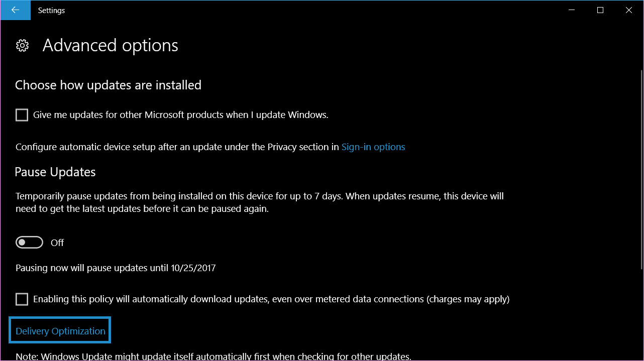 change system update upload and download limits in Windows 10