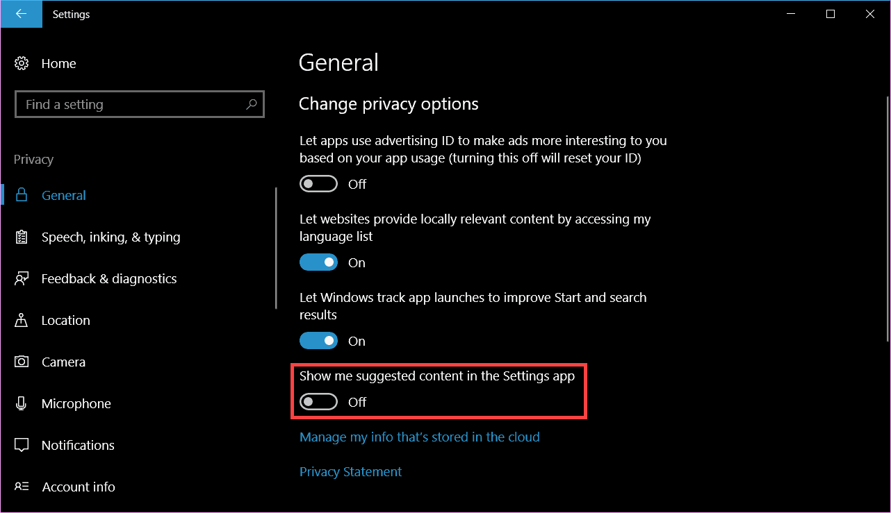 disable ads in Windows 10 Settings app
