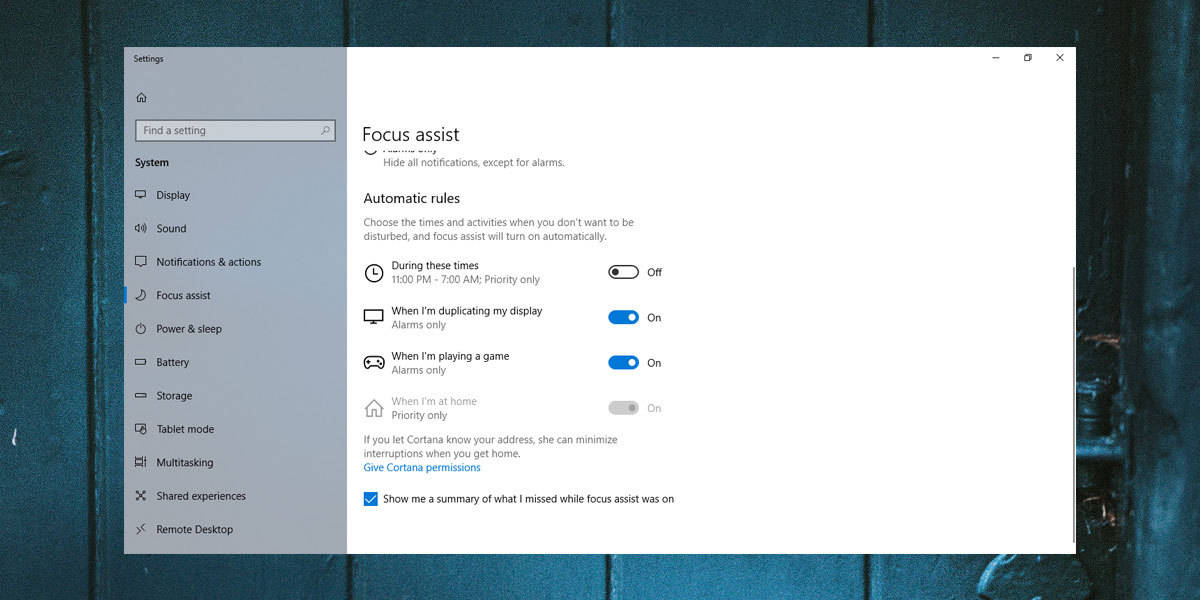 customize Focus Assist on Windows 10
