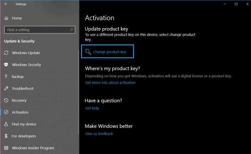 windows 7 change product key run