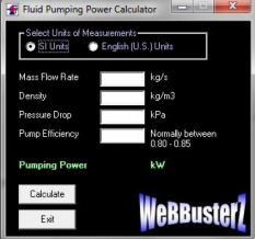 Pumping Power Calculator Screenshot