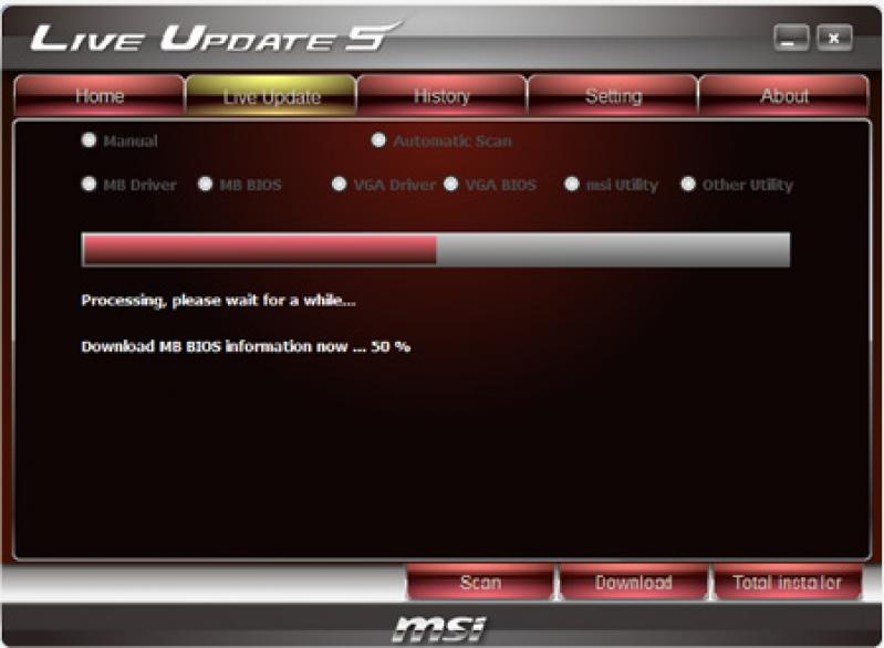 msi live update help desk download