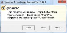 Symantec Trojan.Kotver Removal Tool Screenshot