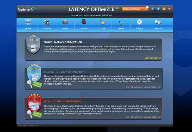 Latency Optimizer screenshot