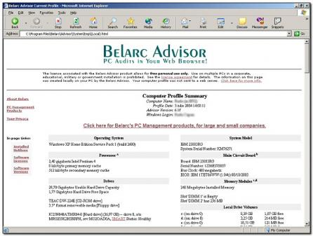 Belarc Advisor Screenshot