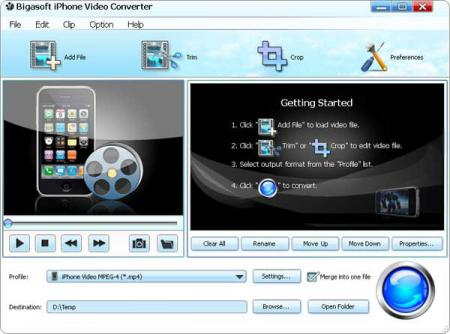 Bigasoft iPhone Video Converter Screenshot