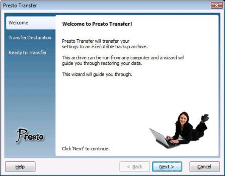 Presto Transfer IE and Windows Mail Screenshot