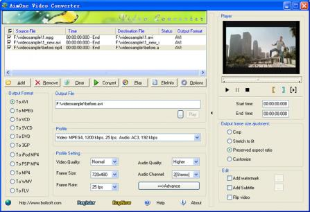 AimOne MOV Converter Screenshot