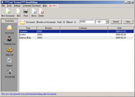 EasyBilling Maker of Sales Document Screenshot