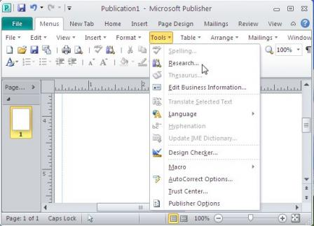 Classic Menu for Publisher 2010 Screenshot