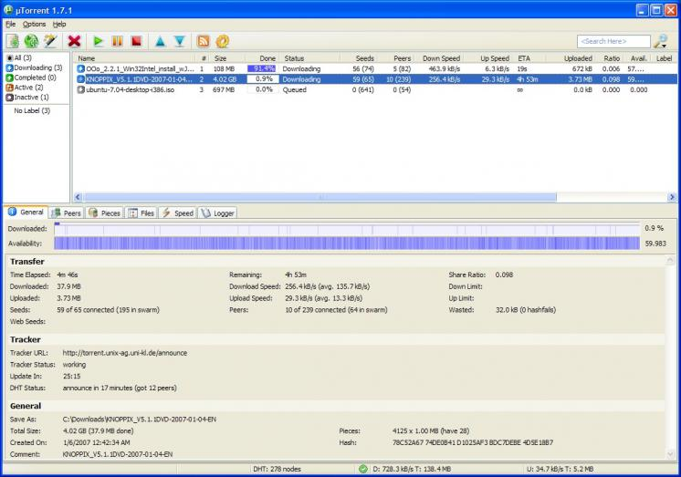 uTorrent screenshot