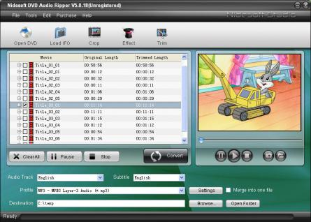 Nidesoft DVD Audio Ripper Screenshot