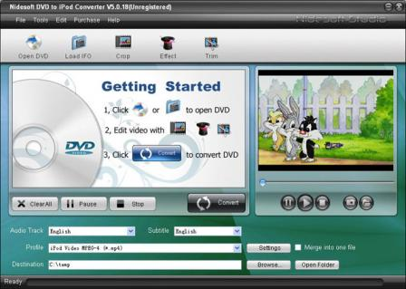 Nidesoft DVD to iPod Converter Screenshot