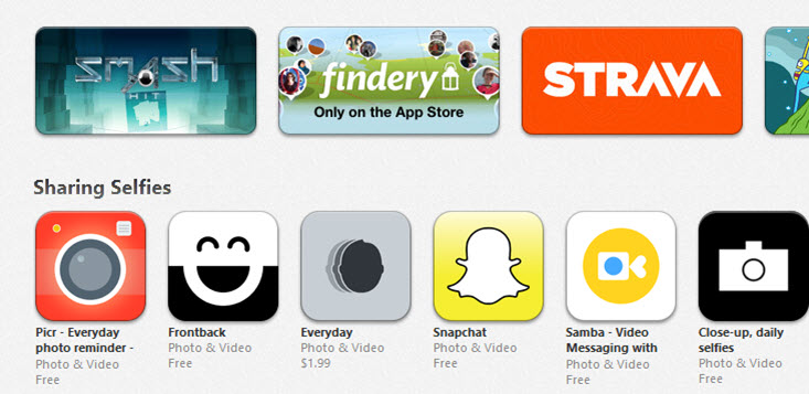 Sharing Selfies iOS App Store Section