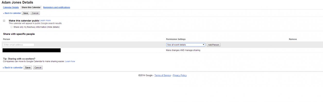 Google Calendar Share