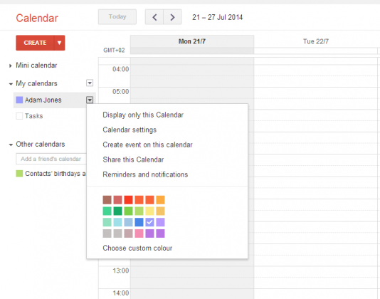 Google Calendar Share Option