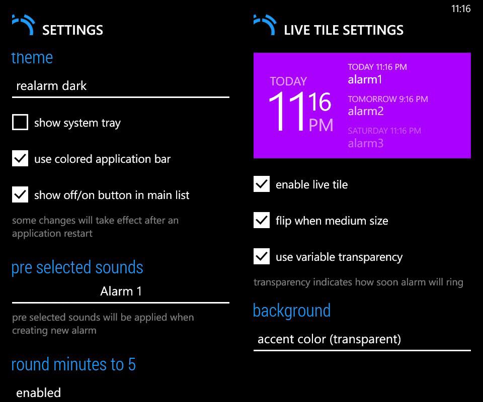 Realarm - Settings and Live Tile settings