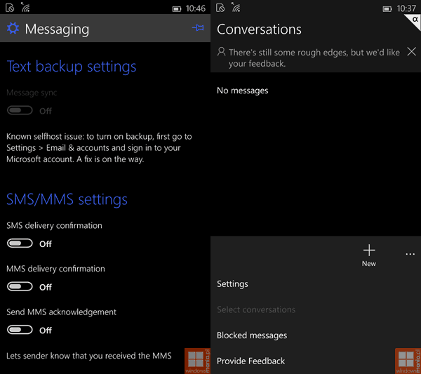 Windows 10 Phone Messaging and Conversations