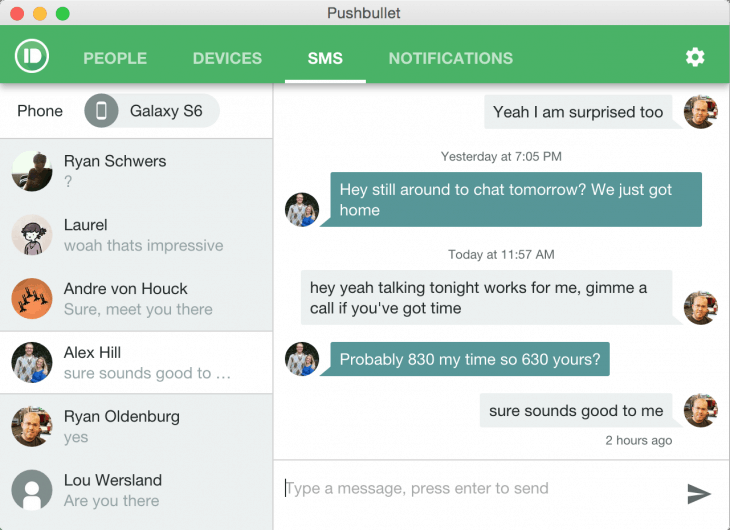 Pushbullet for Android now lets you hold SMS conversations on your