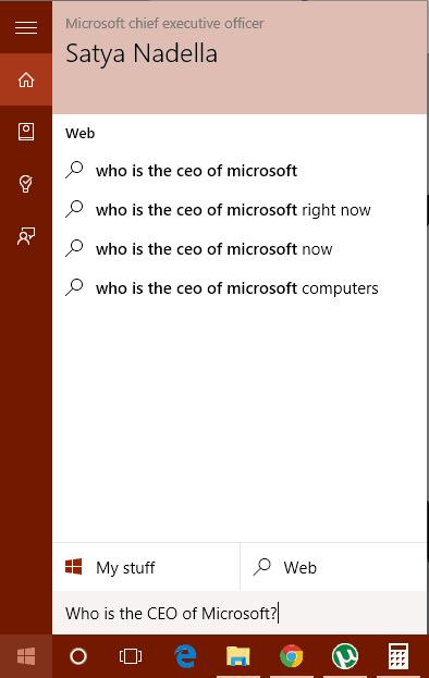 Cortana Basic Search