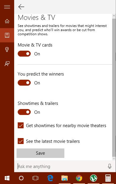 Cortana Card Settings