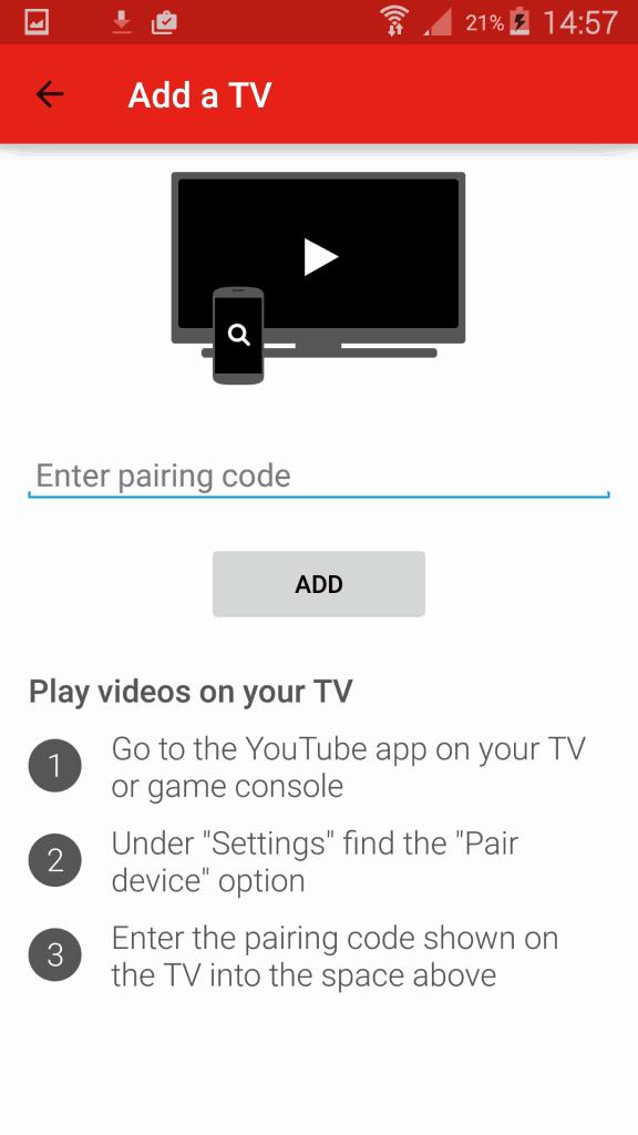 YouTube app - Add a TV