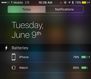 Apple Watch charge level Battery widget