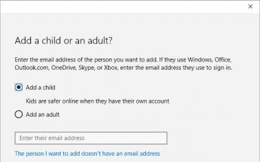 Microsoft Account Add Child