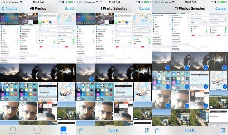 Swipe to select multiple photos
