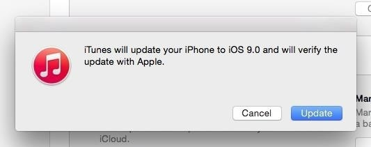iTunes iOS 9.0 confirmation prompt