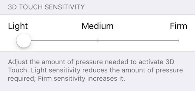 3D Touch Sensitivity