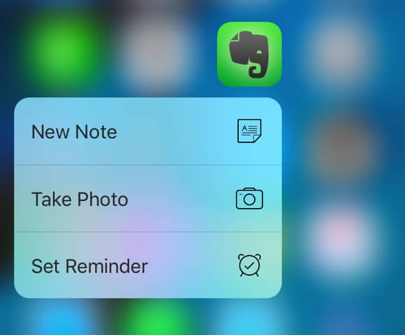 Evernote for iOS - 3D Touch