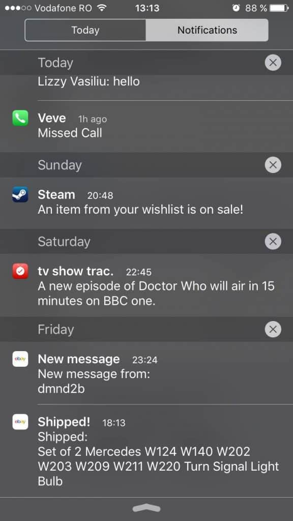 iOS 9 - Notification center
