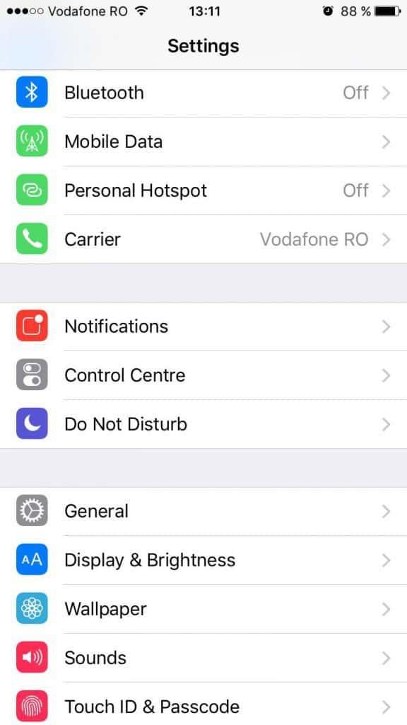 iOS 9 - Settings