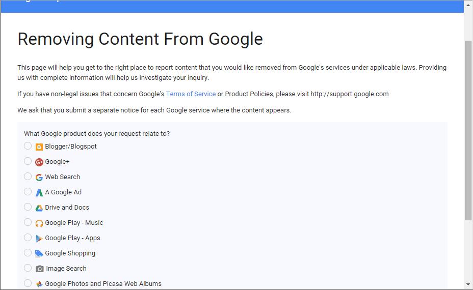 Google Remove Content