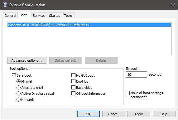 System Configuration Safe Mode