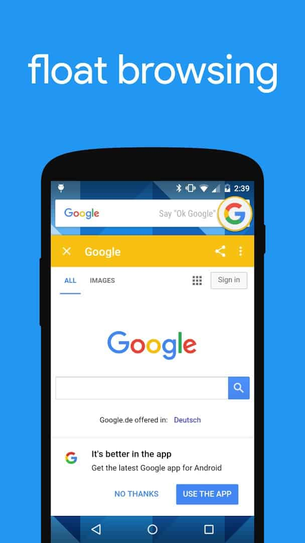 Flyperlink is a lightweight Android web browser optimized