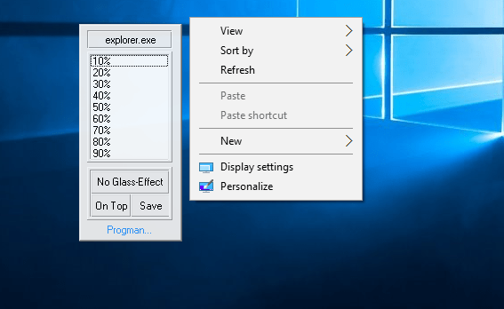 Glass2k Right-Click Pop-up