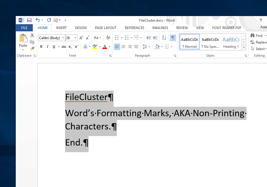 Microsoft Word] Display hidden, non-printing characters to better