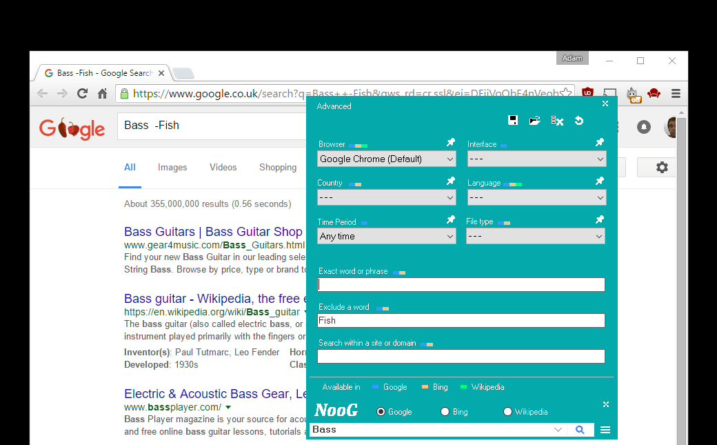 Simplify advanced searches in Google, Bing, and Wikipedia